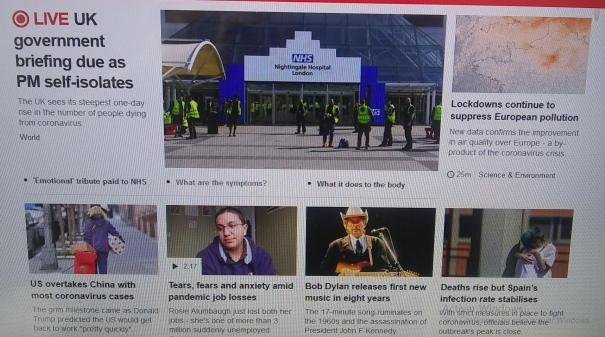 BBC news homepage Bob Dylan